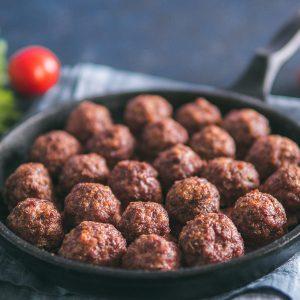 close up shot of meatballs