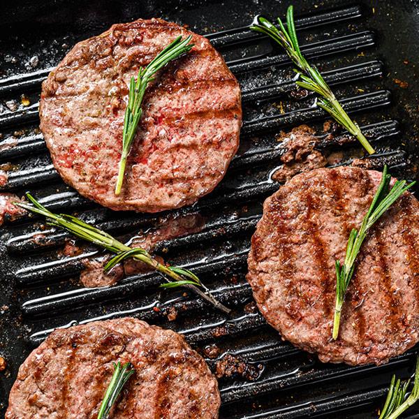 Rump steak burgers